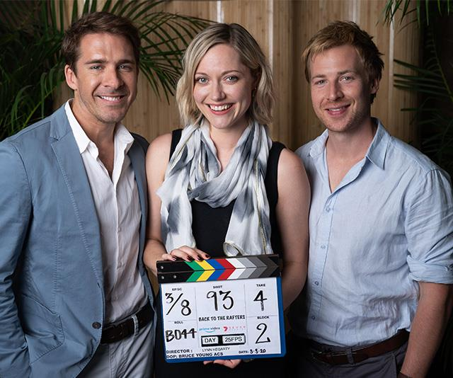 Hugh Sheridan (Ben Rafter), Georgina Haig (Rachel Rafter) and Angus McLaren (Nathan Rafter) pictured together on the set of the new *Packed To The Rafters* reboot series, *Back To The Rafters*.