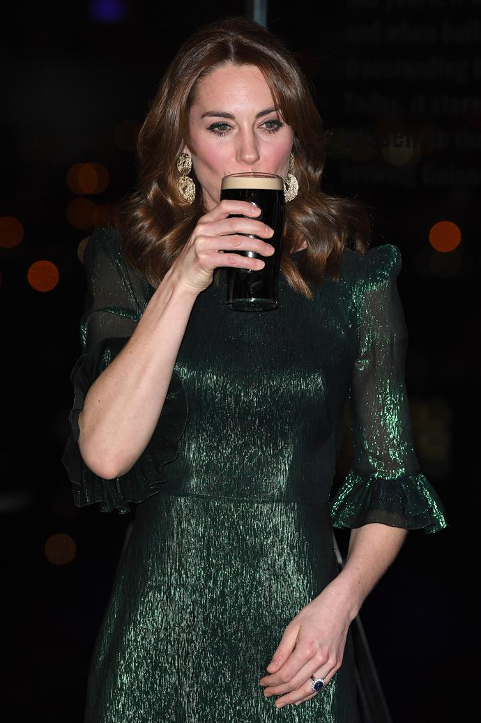 A moment that needed to happen - Kate knocked back a cheeky Guinness in true form.