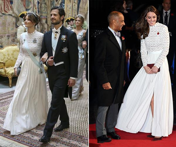 Princess of Sofia of Sweden stunned in this white Self-Portrait dress at a State Banquet in June 2019 whilst Duchess Catherine wore the same dress (with the slit) back in 2016.