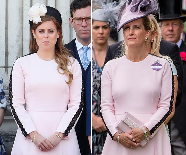 Princess Beatrice was pretty in pink in her Emilia Wickstead dress at the Trooping the Colour celebrations in 2019. Perhaps she borrowed it from her aunt Countess Sophie who wore the same one to Royal Ascot in 2018?