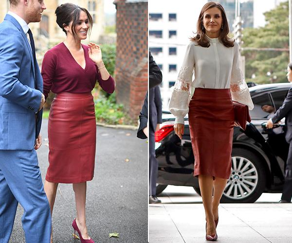 Duchess Meghan donned a red leather Hugo Boss pencil skirt to a roundtable discussion about gender equality as part of the One Young World summit in 2019 and that same year Spain's Queen Letizia wore the same skirt on a visit to Seoul, South Korea.