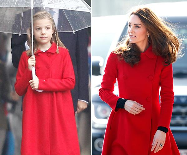 This Carolina Herrera red coat looked great on Duchess Catherine in Belfast in 2019 and equally lovely on Princess Sofia of Spain  when she attended the country's National Day military parade in 2016.