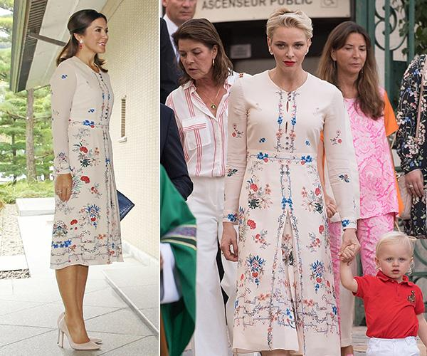 Crown Princess Mary looked radiant in this printed Vilshenko dress on a visit to Tokyo and so did Princess Charlene at Monaco's annual traditional Pique Nique Monegasque.