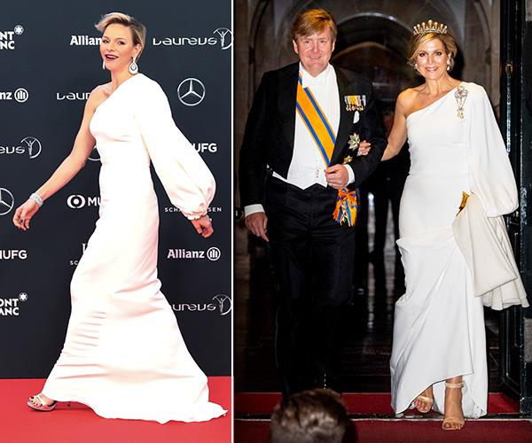 Princess Charlene of Monaco and Queen Maxima of the Netherlands oozed glamour in the same one-sleeved Stella McCartney gown at the Laureus World Sports Awards and annual gala diner for the Diplomatic Corps, respectively.