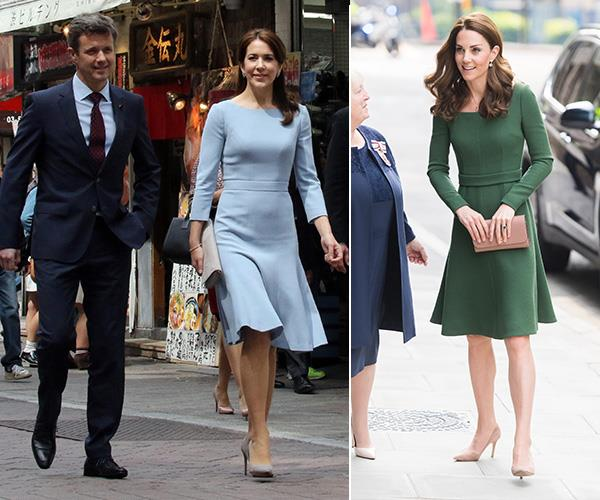 Duchess Catherine is a big fan of Emilia Wickstead and has this chic flared dress in both green and lilac. But it's also hanging in Crown Princes Mary's wardrobe and she wore her blue version in Tokyo's Shibuya district in 2015.