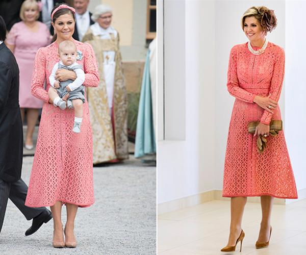 Crown Princess Victoria of Sweden was feeling peachy in Ellie Saab at her nephew Prince Alexander's christening in 2016 and a year later, Queen Maxima of the Netherlands wore it to the Champalimaud Centre in Portugal.