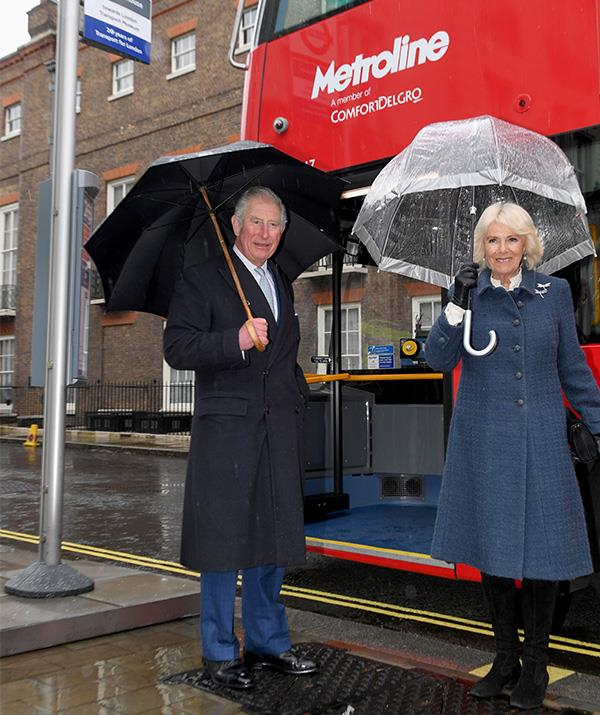 """Imagine bumping into these two in the queue for the bus!  <br><br> Prince Charles and Duchess Camilla took a ride on a new electric double decker bus at [Clarence House](https://www.nowtolove.com.au/lifestyle/homes/clarence-house-london-57155 target=""""_blank"""") in early March 2020, as they travelled to the London Transport Museum to take part in celebrations to mark 20 years of Transport for London."""
