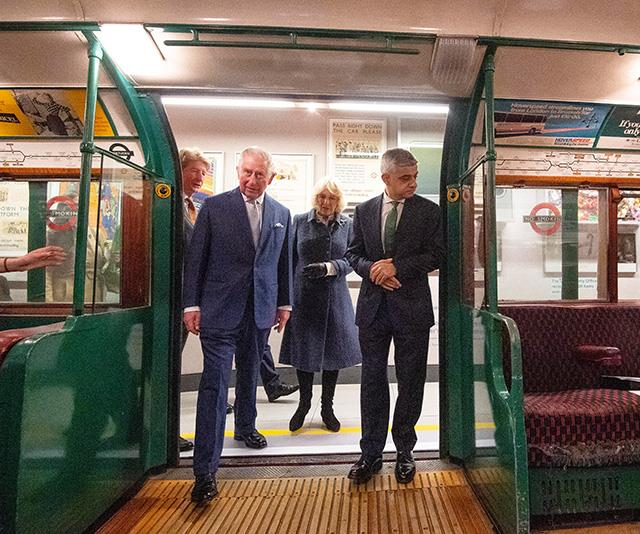 The couple met with London Mayor Sadiq Khan as they stepped onto an old London tube carriage on display at the museum.