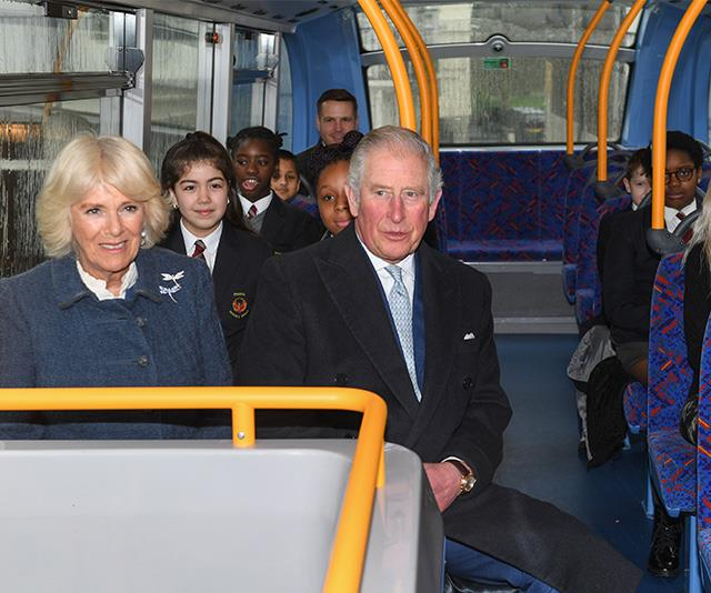 Charles and Camilla sat amongst school students and fellow commuters on the bus.