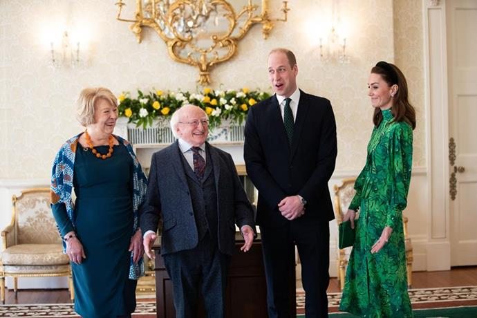 "Kate opted to wear a beautiful [Alessandra Rich green printed dress](https://www.nowtolove.com.au/royals/british-royal-family/kate-middleton-prince-william-dublin-62856|target=""_blank""), as well as a trendy Zara headband."