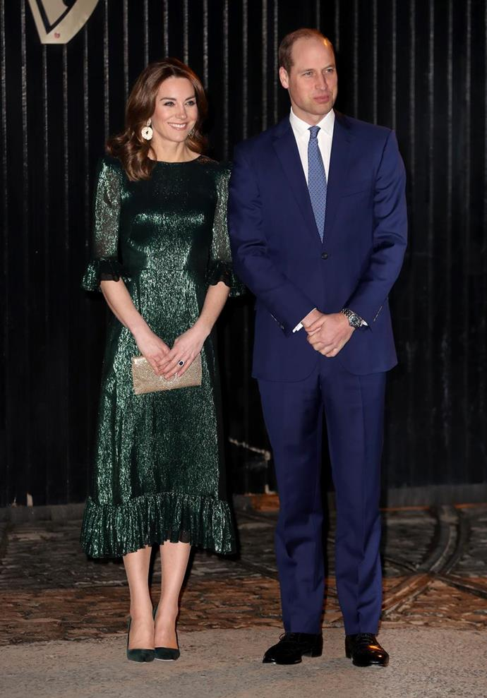 "Later that evening, Kate wore this [chic and sparkly Vampire's Wife dress](https://www.nowtolove.com.au/royals/british-royal-family/kate-middleton-ireland-green-dress-62857|target=""_blank"")."