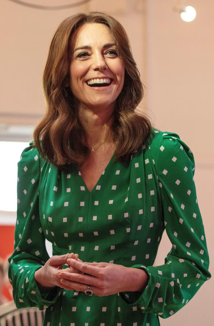 But it was what was underneath said McQueen coat that really got our attention - the Duchess looked utterly stunning in this apt green polka dot Suzannah dress.