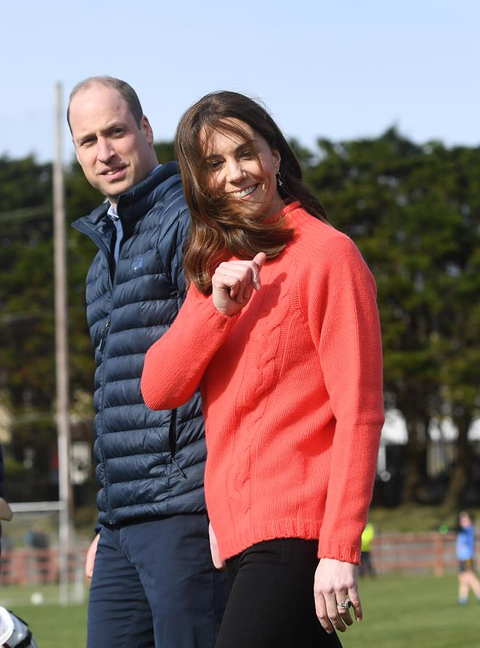Later in the day, the Duke and Duchess took to the sports field, where they got a little competitive.
