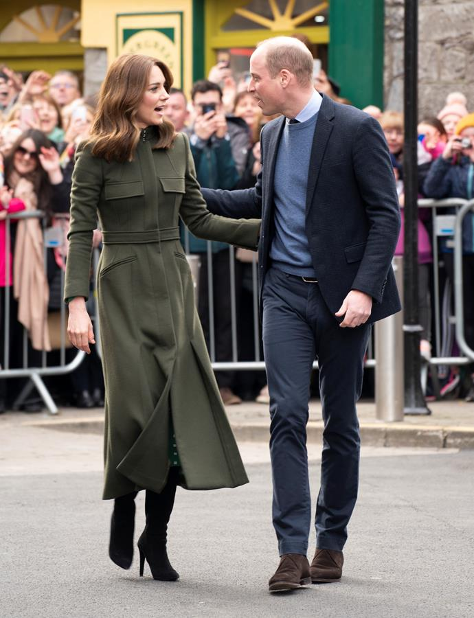 On the third and final morning of their royal tour, Kate opted for an old favourite - her green Alexander McQueen coat.