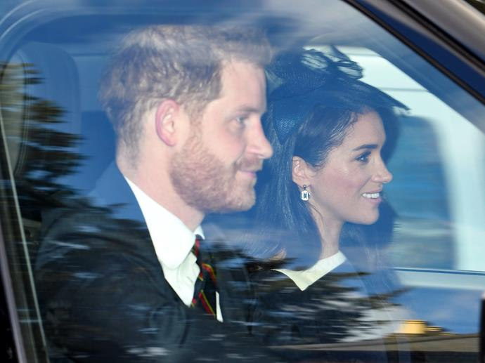 Harry and Meghan were spotted driving to a Sunday church service at Windsor.