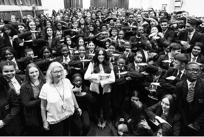 "Duchess Meghan [surprised students at Robert Clack Upper School in Dagenham,](https://www.nowtolove.com.au/royals/british-royal-family/prince-harry-meghan-markle-queen-church-62957|target=""_blank"") a borough of East London, where the equal pay movement in the UK was born."
