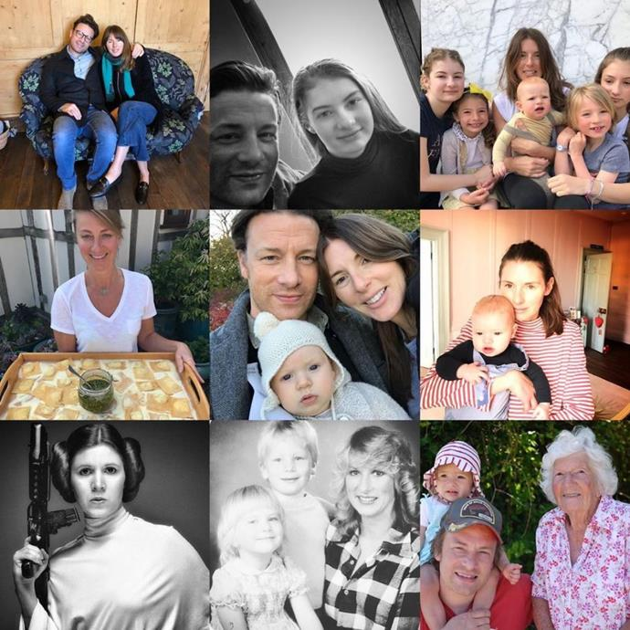 TV chef Jamie Oliver made his own collage to honour the important women in his life - including his wife and daughters and rather randomly, Carrie Fisher as Princess Leia!