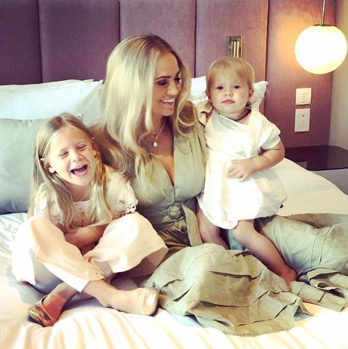 *Neighbours* star and mum-of-two Stephanie McIntosh shared a cute and cuddly snap with two of the most important young women in her life.