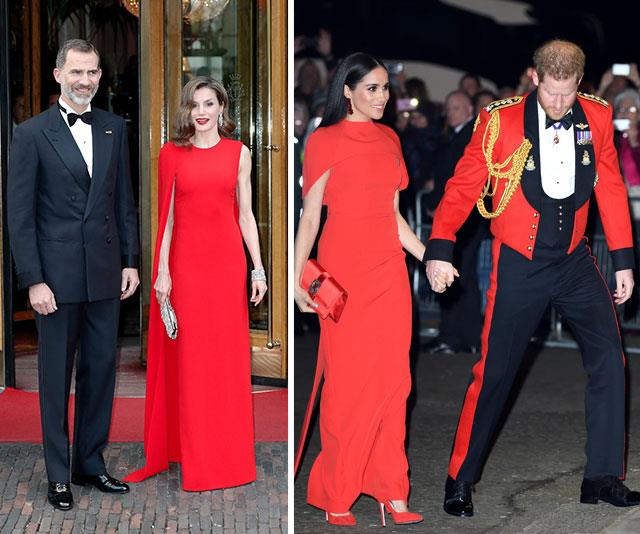 """Red alert: Over the weekend, Duchess Meghan oozed elegance when she stepped out in a siren-red cape dress by Safiyaa during one of her [final appearances as a senior royal](https://www.nowtolove.com.au/royals/british-royal-family/meghan-markle-red-dress-62956