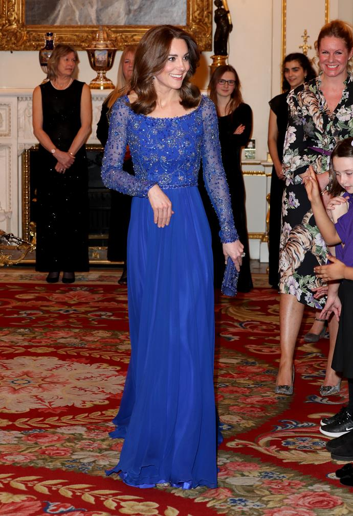 Kate looked divine in the Jenny Packham design.