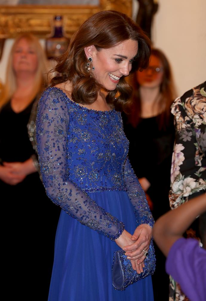 Kate looked utterly heavenly in a princess-worthy dress as she stepped out for a second time on Monday.