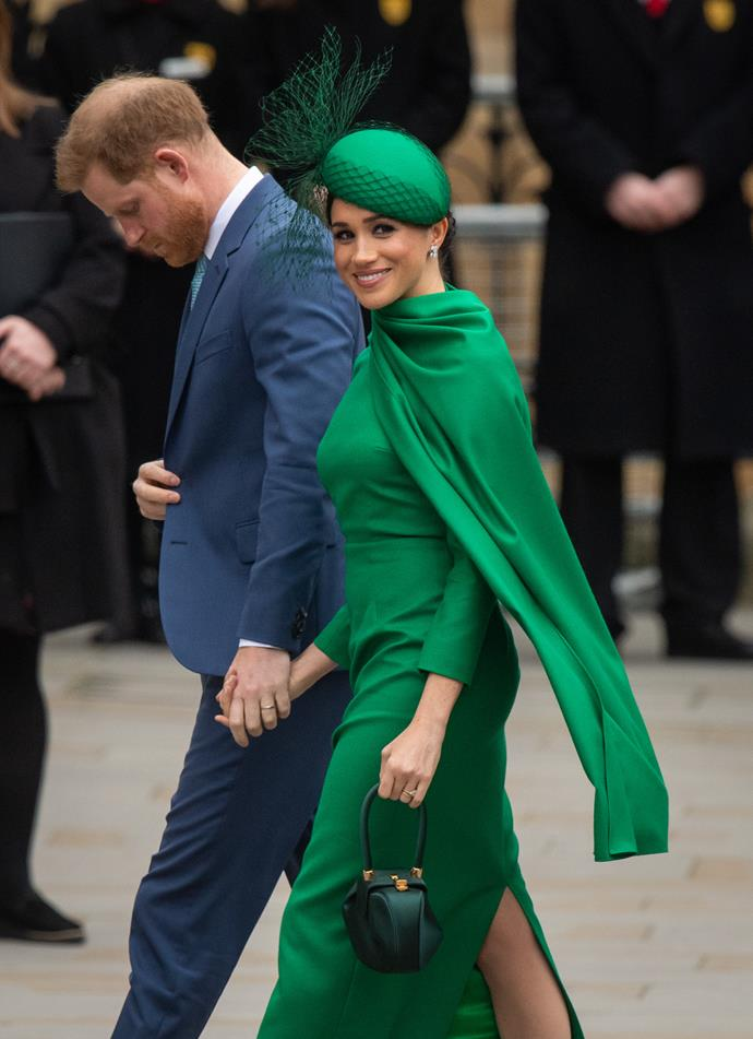 "Meghan was glowing in green for the event, opting for this [chic Emilia Wickstead caped number](https://www.nowtolove.com.au/royals/british-royal-family/meghan-markle-commonwealth-day-dress-62979|target=""_blank"") that turned heads a-plenty."