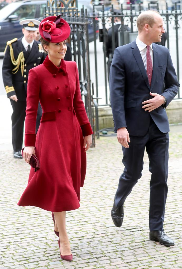Kate also brought her fashion A-game, wearing a dreamy Catherine Walker coat dress for the royal occasion.