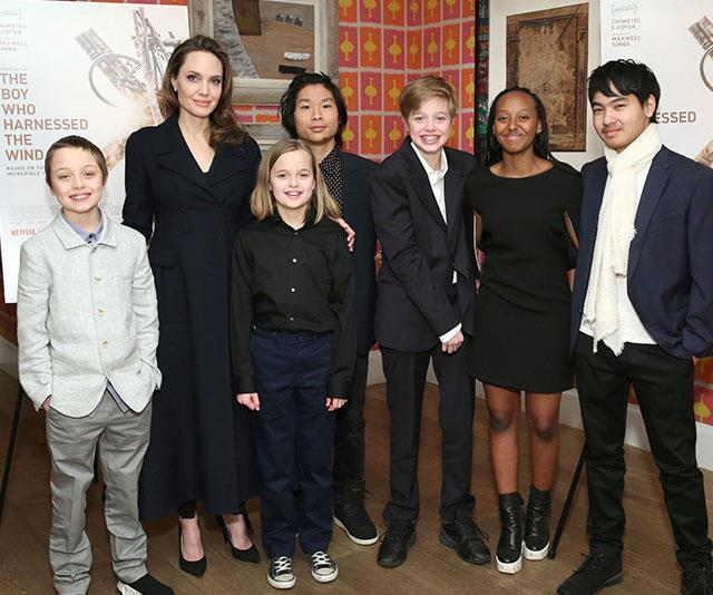 Angelina picture with her six children (from left) Knox, Vivienne, Pax, Shiloh, Zahara and Maddox.