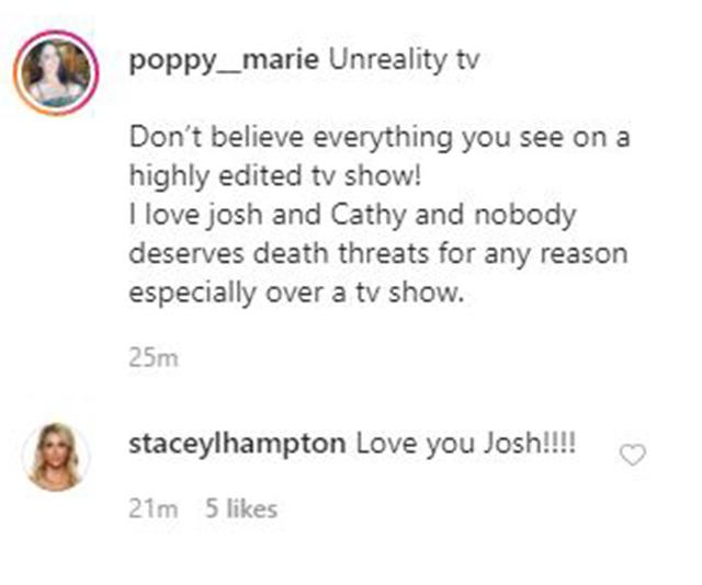 Poppy and Stacey have thrown their support behind Josh.