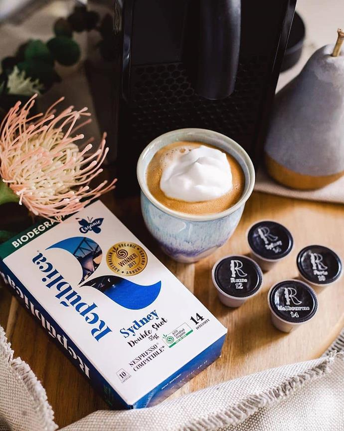 "**[República Organic Biodegradable Nespresso Compatible Coffee Capsules](https://www.republicaorganic.com.au/collections/frontpage/cartons|target=""_blank""