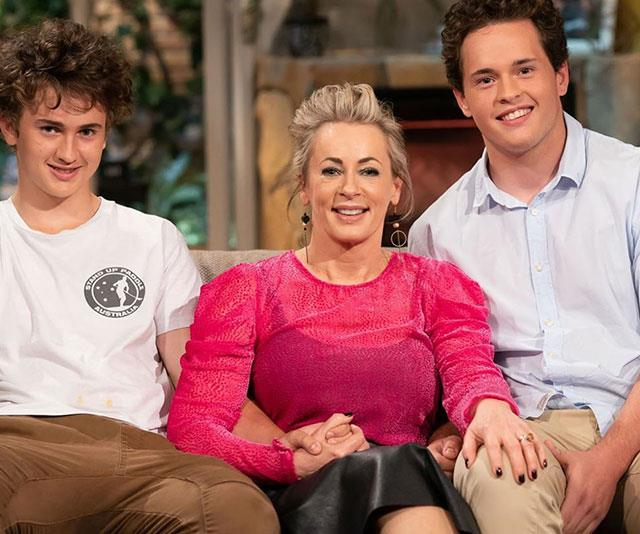 The proud mum with sons Jack and Liam