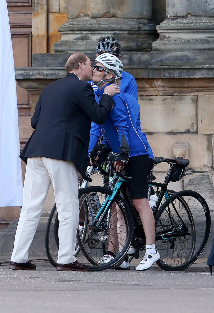 A keen cyclist, Sophie has participated in numerous charity bike rides and was photographed sharing a quick kiss with her proud husband.