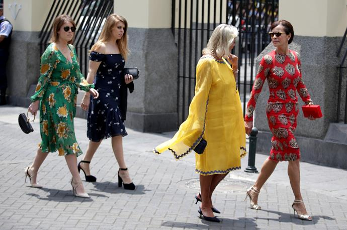 Beatrice and Eugenie attended the sunny Peruvian celebration for the Monaco royals back in 2018.