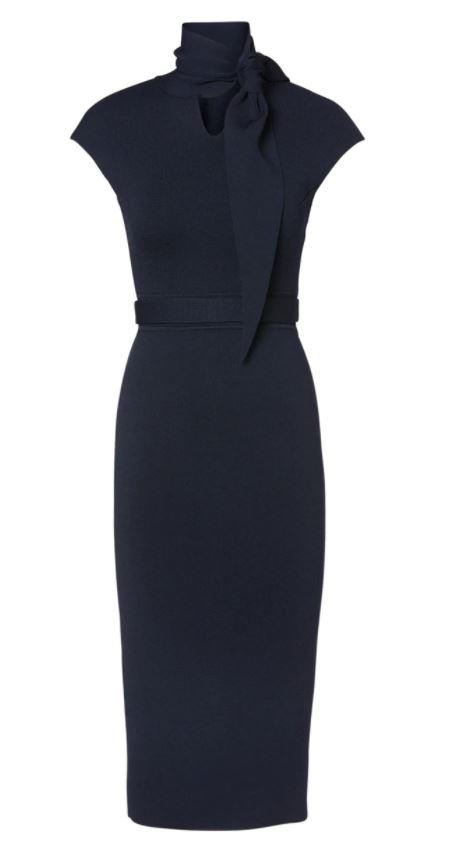 Meghan wore this sleek Scanlan Theodore dress for her final engagement as a royal.