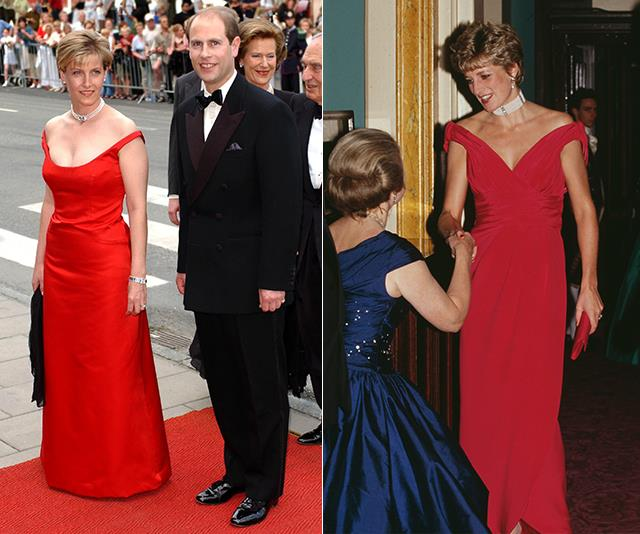 Countess Sophie oozed royal glamour at the wedding of Princess Martha Louise of Norway in 2002, and Princess Diana wore a similar gown and choker at London's Royal Opera House years before in 1991.