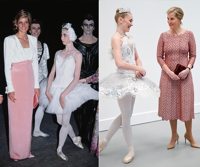 Diana dreamed of being a ballet dancer in her youth and kept her position as patron of the English National Ballet. Meanwhile Countess Sophie became patron of the Central School of Ballet and opened The Countess of Wessex Studios at the Central School of Ballet's new premises in 2020.