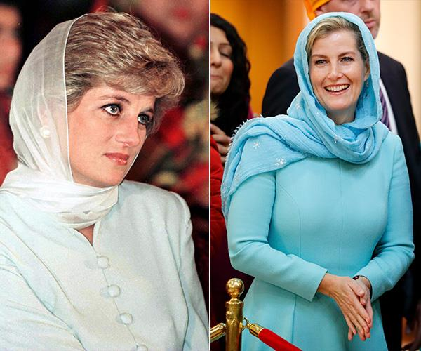 When Diana visited a hospital in Pakistan during a royal tour, she royal looked breathtaking in a blue head scarf. Then in 2018, Countess Sophie bore a striking similarity when she and Prince Edward visited a Sikh temple in London.