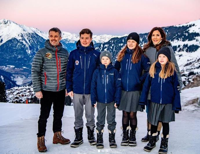 When it was announced that the royal children would be attending boarding school in Switzerland, the Palace released new photos of the family on the slopes.