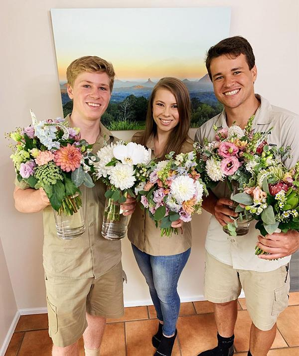 Bindi shared this snap of herself, brother Robert and Chandler picking out wedding flowers.