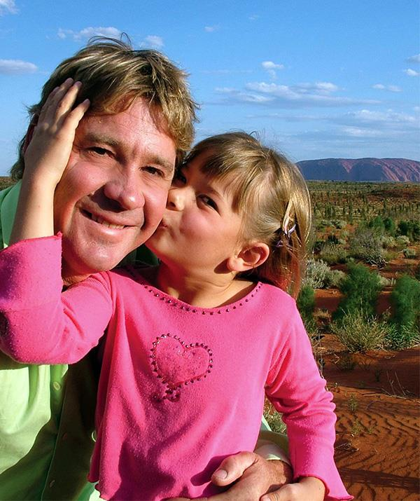 A young Bindi pictured with her late father Steve before his tragic death.