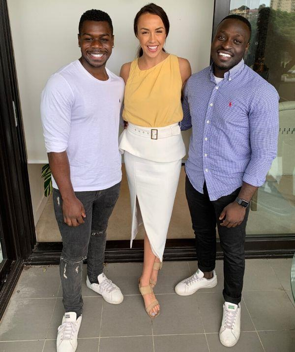 Natasha with *The Amazing Race Australia's* Nick and Femi. She uncovered some of her deeper trauma during a segment on their their new podcast *Uncovered with Nick and Femi*.