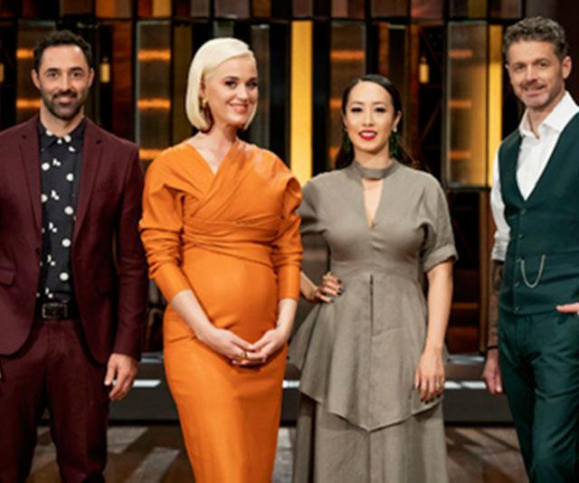 Katy Perry made a surprise appearance on MasterChef (pictured with judges Andy Allen, Melissa Leong and Jock Zonfrillo)