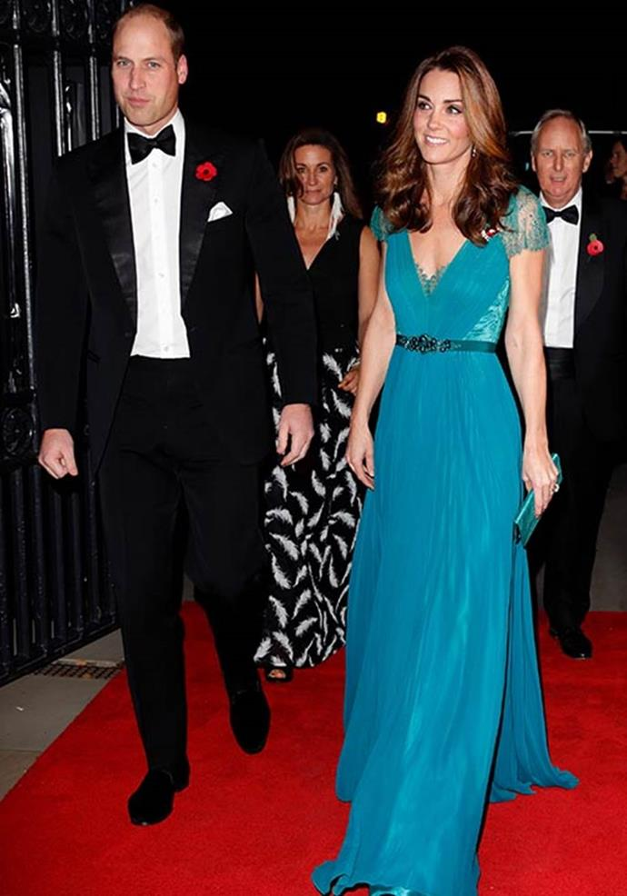 """In 2018, Kate glowed in a [beautiful blue Jenny Packham design](https://www.nowtolove.com.au/royals/british-royal-family/kate-recycle-blue-dress-52330