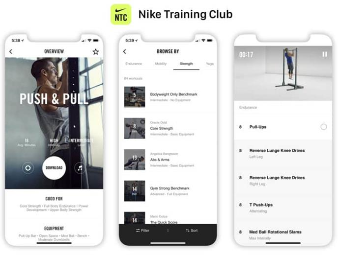 The various options available on the Nike Training App.