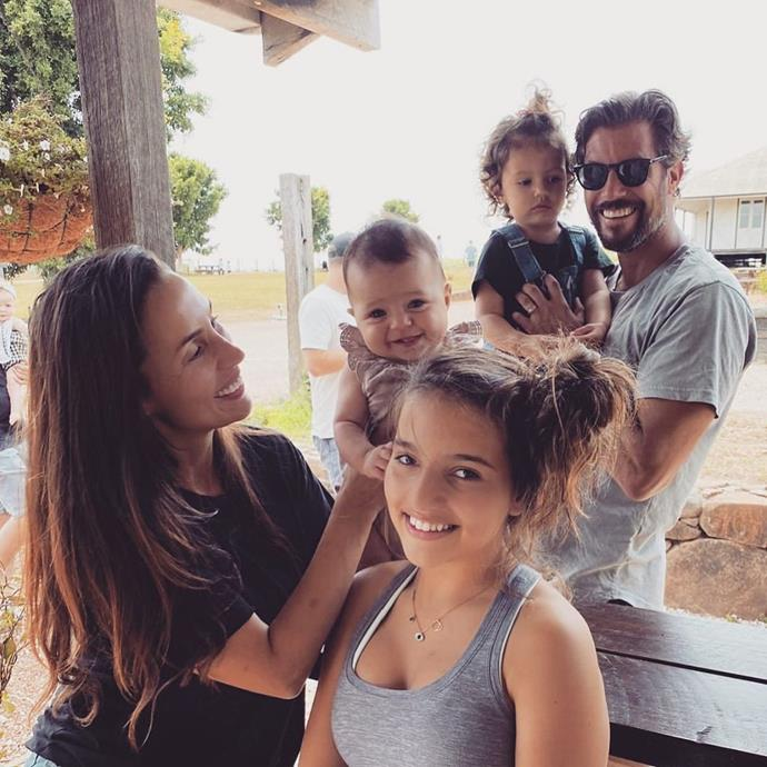 Sam (right) with his wife Snez, her daughter Eve from a previous relationship, and the couple's two children Willow and Charlie.