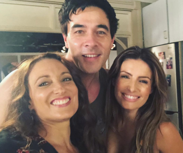 Georgie Parker jumped in for a cute picture with on-screen couple Leah (Ada Nicodemou) and Justin (James Stewart).