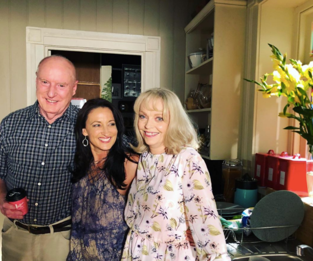 How sweet is this family photo?! Alf and Martha tied the knot in a whirlwind wedding this year, and on-screen daughter Roo, couldn't have been happier.