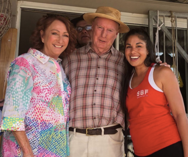 The man, the myth, the legend! Ray Meagher knows how to get the ladies to smile. Pictured here with co-stars Lynne McGranger and Sarah Roberts.