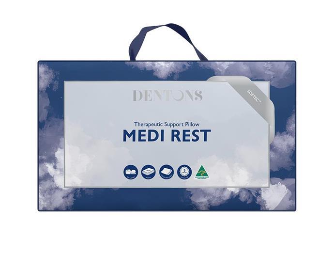 "[Dentons Medi Rest pillow](https://www.dentons.com.au/products/|target=""_blank""|rel=""nofollow""), $129.95"