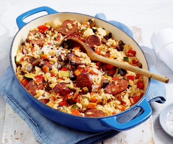 """Feed the family with this hearty **[roasted vegetable and chorizo risotto](https://www.womensweeklyfood.com.au/recipes/roasted-vegetable-and-chorizo-risotto-2294